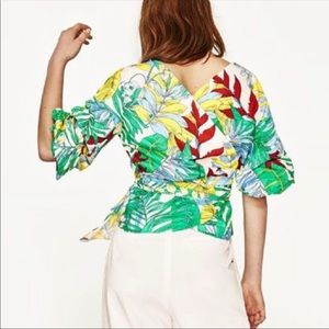 Zara Tropical Tie Waist Blouse